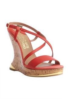 Salvatore Ferragamo lava leather open toe cork heel 'Shade' sandals
