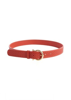 Salvatore Ferragamo lava red laser cut leather gancio buckle belt