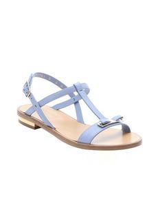 Salvatore Ferragamo light blue calfskin 'Marino' bow t-strap sandals