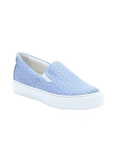 Salvatore Ferragamo light blue perforated leather 'Pacau' slip-on sneakers