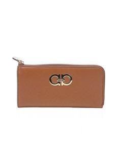 Salvatore Ferragamo light brown leather gancini continental zip wallet