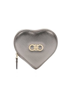 Salvatore Ferragamo metallic grey leather gancio detail heart coin purse