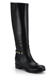 Salvatore Ferragamo Nando Chain-Trimmed Leather Boots