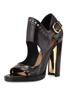 Salvatore Ferragamo Narny Leather Grommet-Trim Sandal