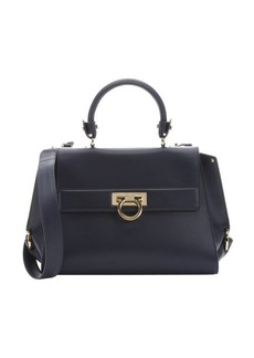 Salvatore Ferragamo navy blue leather medium 'Sofia' convertible satchel