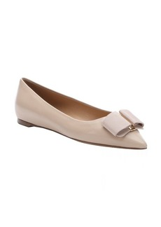 Salvatore Ferragamo new bisque lambskin 'Mimi' pointed toe bow detail ballet flats