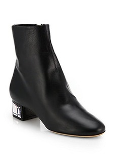 Salvatore Ferragamo Nlame Leather Crystal-Heel Ankle Boots