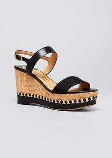 Salvatore Ferragamo Open Toe Platform Wedge Sandals - Mollie Logo Chain