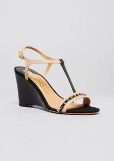 Salvatore Ferragamo Open Toe Wedge Sandals - Malina Logo Chain