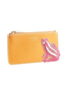 Salvatore Ferragamo orange crosshatched leather frog zip pouch