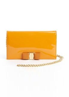 Salvatore Ferragamo orange patent leather 'Vara Mini Bag' convertible clutch