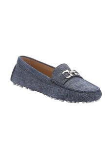 Salvatore Ferragamo oxford blue denim horsebit 'Saba' loafers
