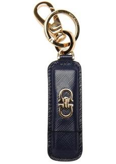 Salvatore Ferragamo oxford blue leather and metal usb key chain