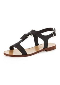 Salvatore Ferragamo Pana T-Strap Flat Sandal, Black