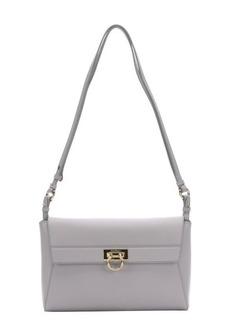 Salvatore Ferragamo pearl grey leather 'Abbey' gancio detail shoulder bag