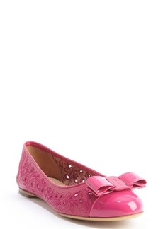 Salvatore Ferragamo pink perforated leather embroidered and bow detail flats