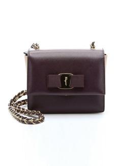 Salvatore Ferragamo plum leather 'Ginny' mini shoulder bag