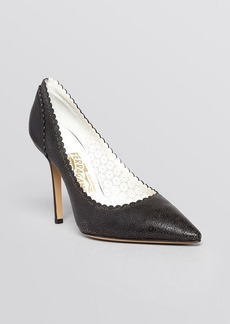 Salvatore Ferragamo Pointed Toe Pumps - Susi Laser Cut Lace High Heel