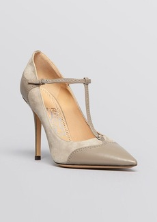 Salvatore Ferragamo Pointed Toe T Strap Pumps - Nalia High Heel