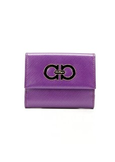 Salvatore Ferragamo purple crosshatched leather small ID french wallet