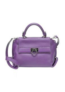 Salvatore Ferragamo purple leather gancio small 'Sofia' convertible satchel