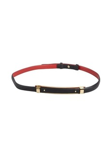 Salvatore Ferragamo red and black reversible leather gold bar skinny belt