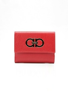 Salvatore Ferragamo red crosshatched leather small ID french wallet
