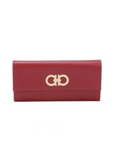 Salvatore Ferragamo red leather gancini front flap continental wallet