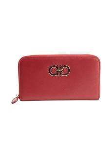 Salvatore Ferragamo red leather gancini zip continental wallet