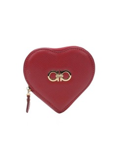 Salvatore Ferragamo red leather gancio detail heart coin purse