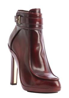 Salvatore Ferragamo red mahogany leather anklestrap heel bootie