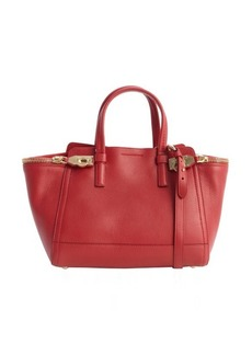 Salvatore Ferragamo rosso red leather gancio clasp small tote bag