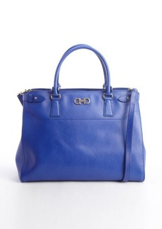 Salvatore Ferragamo sapphire blue leather double gancio large tote