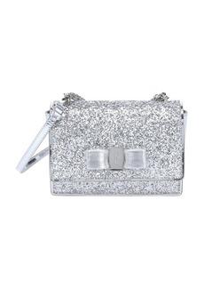 Salvatore Ferragamo silver glittered patent leather mini 'Ginny' convertible shoulder bag