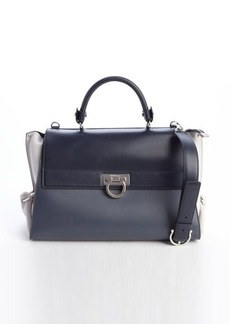 Salvatore Ferragamo slate and grey and navy leather top handle bag