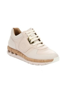 Salvatore Ferragamo taupe and pale pink leather and cork 'Morgan' lace-up sneakers