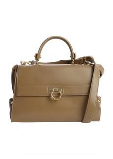 Salvatore Ferragamo taupe leather convertible top handle bag