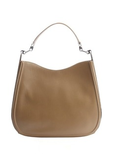 Salvatore Ferragamo taupe leather silvertone accent shoulder bag