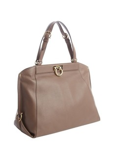Salvatore Ferragamo taupe leather zip detail medium shoulder bag