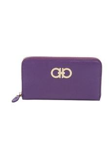 Salvatore Ferragamo violet gancini zip around continental wallet