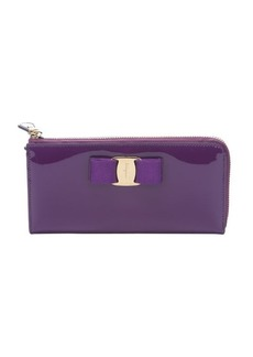 Salvatore Ferragamo violet patent leather bow detail continental wallet
