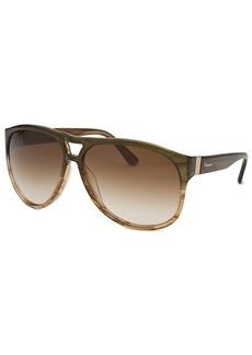 Salvatore Ferragamo Women's Aviator Striped Khaki Sunglasses