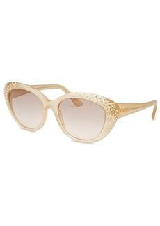 Salvatore Ferragamo Women's Cat Eye Pearl Sand Sunglasses