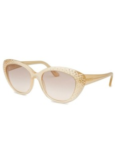 Salvatore Ferragamo Women's Cat Eye Pearl Sand Sunglasses