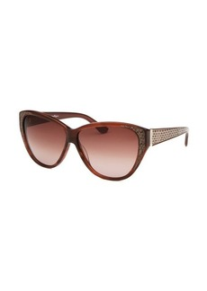Salvatore Ferragamo Women's Cat Eye Striped Brown Sunglasses Beige Leather Reptile Print Arms