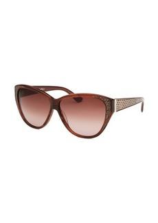 Salvatore Ferragamo Women's Cat Eye Striped Brown Sunglasses Beige Leather Reptile Print Arms