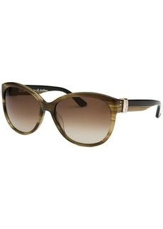 Salvatore Ferragamo Women's Cat Eye Striped Khaki Sunglasses