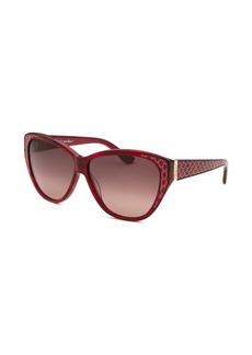 Salvatore Ferragamo Women's Cat Eye Striped Red Sunglasses