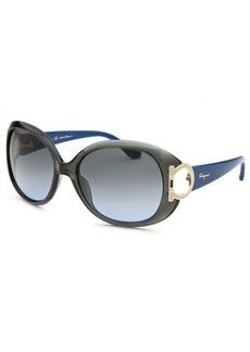 Salvatore Ferragamo Women's Oversized Translucent Dark Green Sunglasses