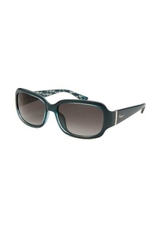 Salvatore Ferragamo Women's Rectangle Dark Teal Sunglasses
